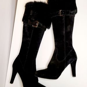 Italian Suede Fur Sexy Knee High Boots 8